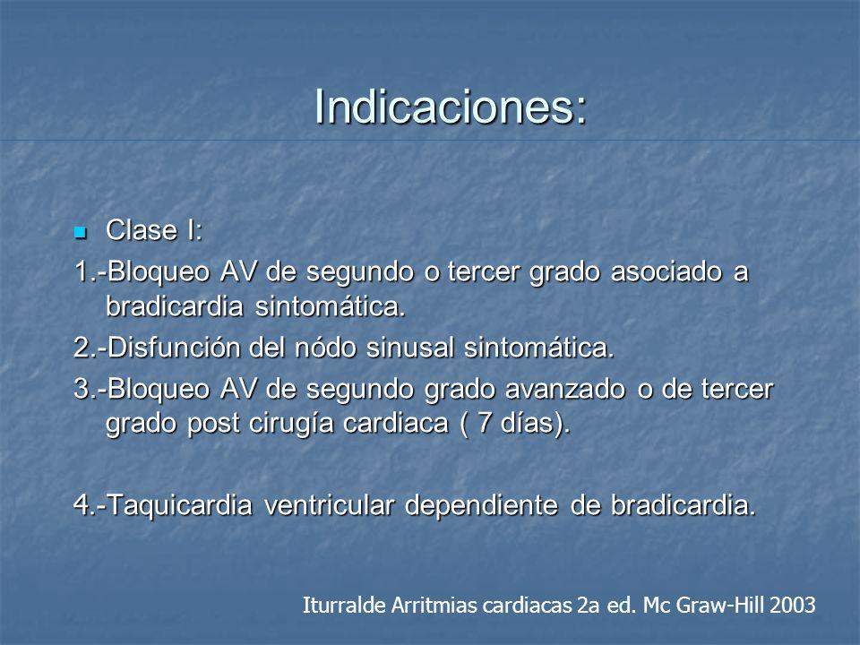 Indicaciones: Clase I: Clase I: 1.-Bloqueo AV de segundo o tercer grado asociado a bradicardia sintomática. 2.-Disfunción del nód o sinusal sintomátic