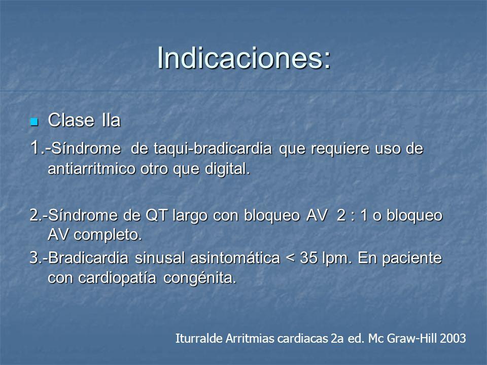 Indicaciones: Clase IIa Clase IIa 1.- Síndrome de taqui-bradicardia que requiere uso de antiarritmico otro que digital. 2.-Síndrome de QT largo con bl