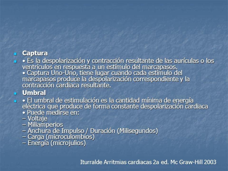 Captura Captura Es la despolarización y contracción resultante de las aurículas o los ventrículos en respuesta a un estímulo del marcapasos. Captura U