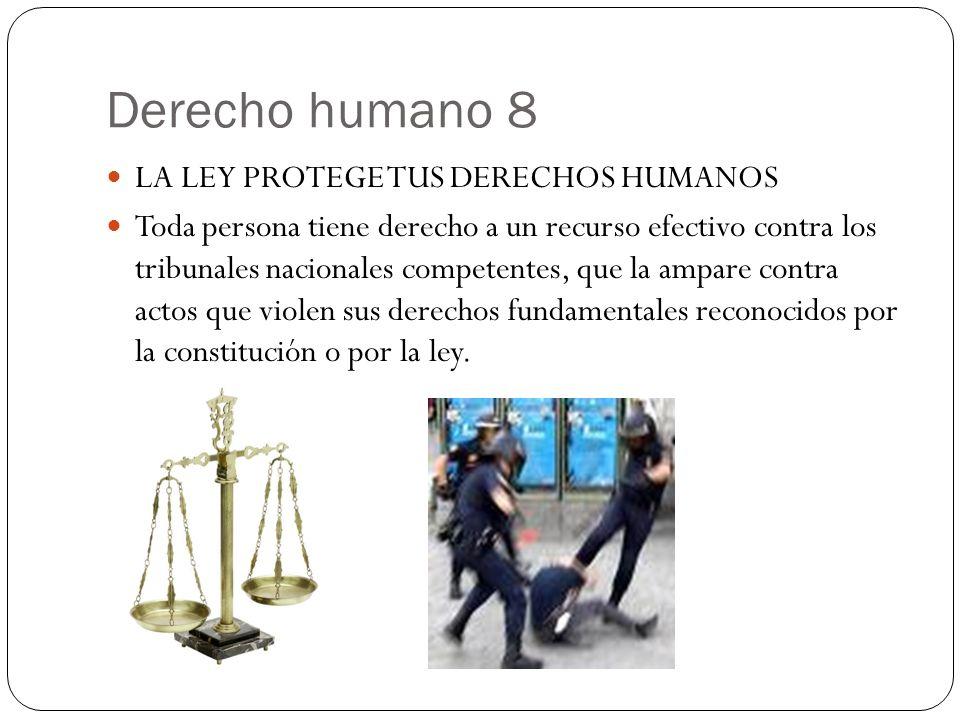 Derecho humano 8 LA LEY PROTEGE TUS DERECHOS HUMANOS Toda persona tiene derecho a un recurso efectivo contra los tribunales nacionales competentes, qu