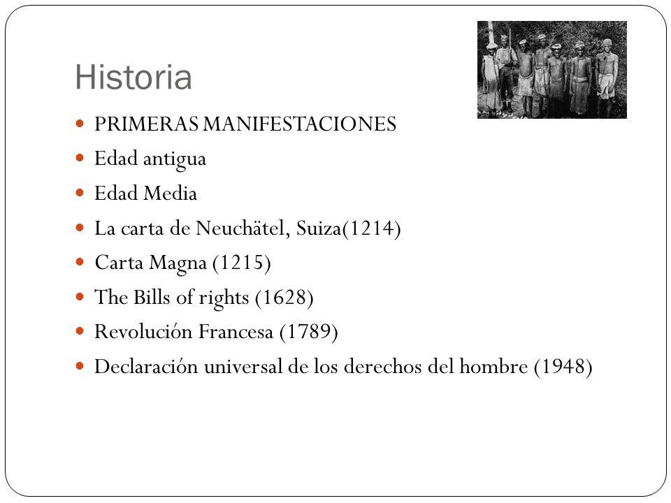 Historia PRIMERAS MANIFESTACIONES Edad antigua Edad Media La carta de Neuchätel, Suiza(1214) Carta Magna (1215) The Bills of rights (1628) Revolución