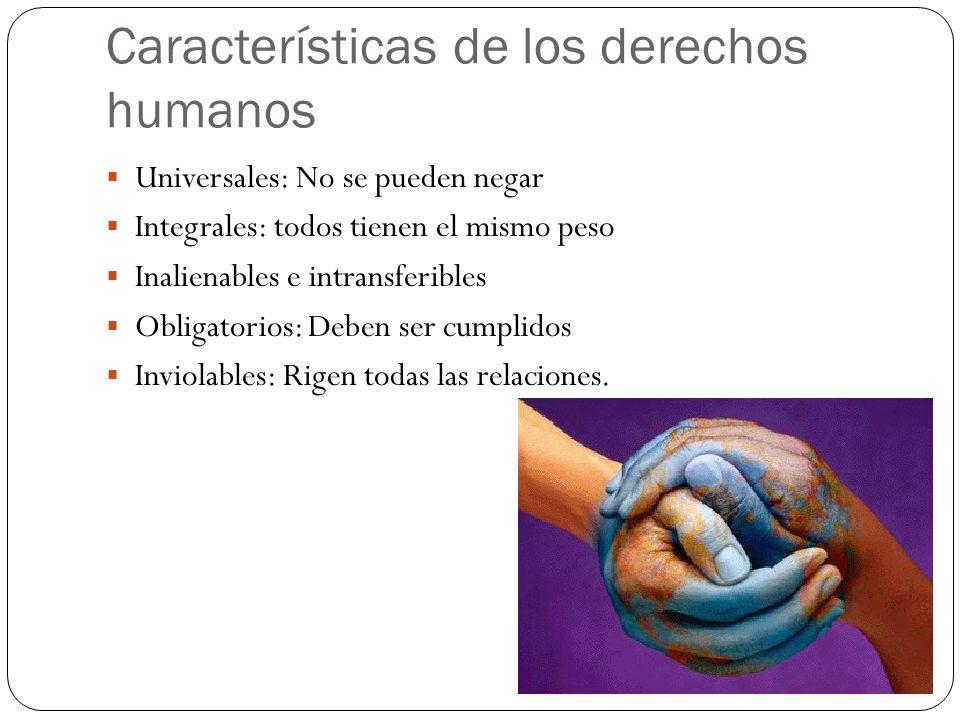 Características de los derechos humanos Universales: No se pueden negar Integrales: todos tienen el mismo peso Inalienables e intransferibles Obligato