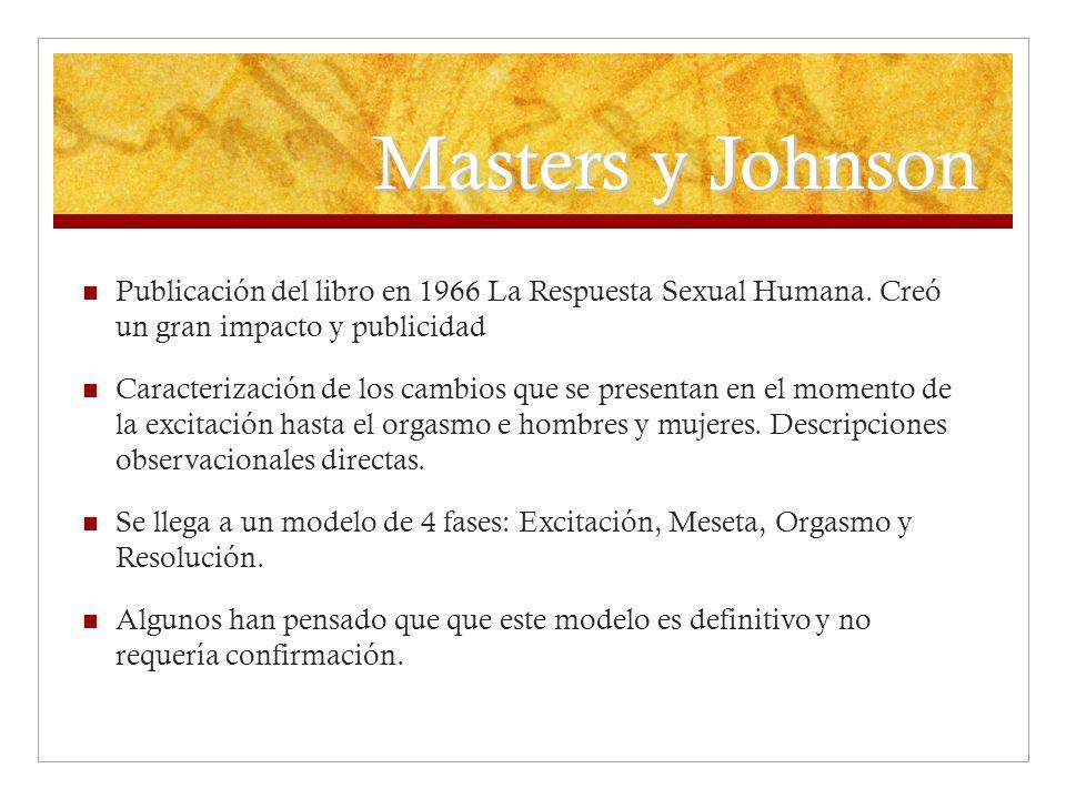 Masters y Johnson Publicación del libro en 1966 La Respuesta Sexual Humana. Creó un gran impacto y publicidad Caracterización de los cambios que se pr