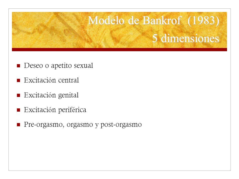 Modelo de Bankrof (1983) 5 dimensiones Deseo o apetito sexual Excitaci ó n central Excitaci ó n genital Excitaci ó n perif é rica Pre-orgasmo, orgasmo