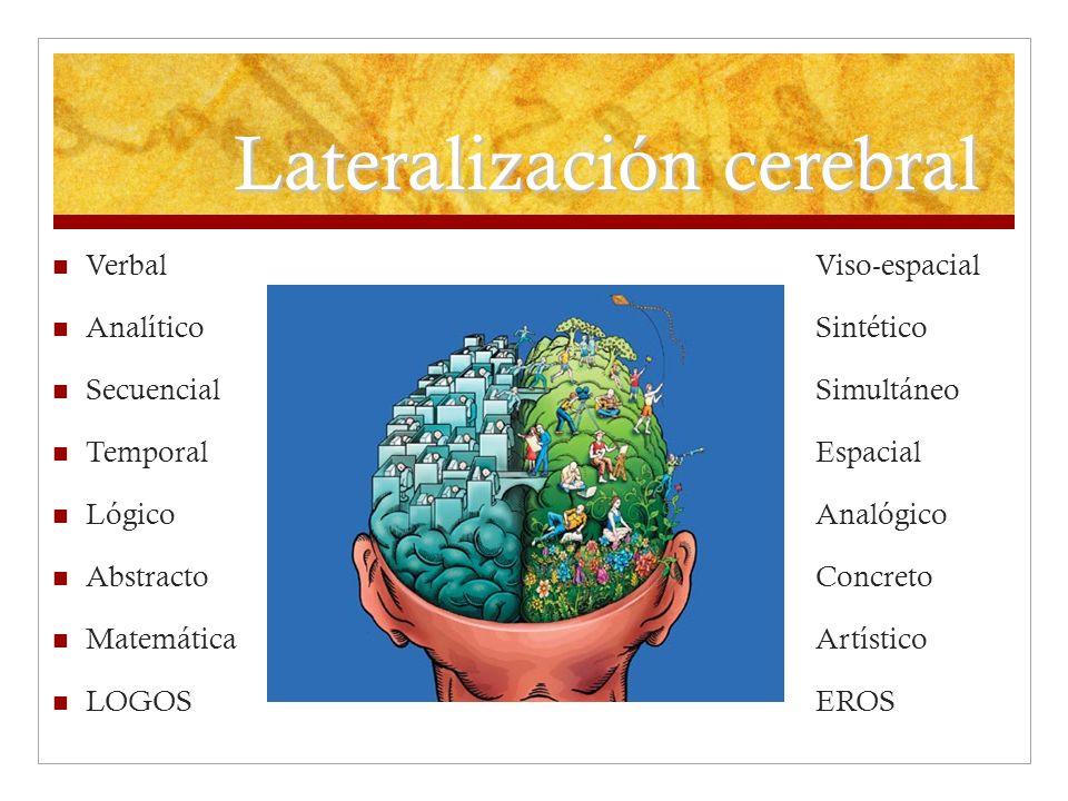 Lateralización cerebral Verbal Viso-espacial Analítico Sintético Secuencial Simultáneo Temporal Espacial Lógico Analógico Abstracto Concreto Matemátic
