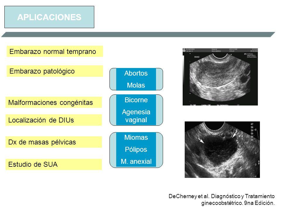 APLICACIONES Embarazo normal temprano Embarazo patológico Abortos Molas Malformaciones congénitas Localización de DIUs Dx de masas pélvicas Estudio de