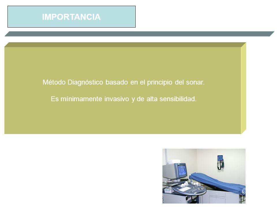 IMPORTANCIA Método Diagnóstico basado en el principio del sonar. Es mínimamente invasivo y de alta sensibilidad.