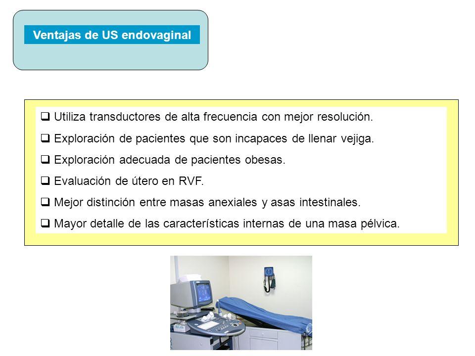 Ventajas de US endovaginal Utiliza transductores de alta frecuencia con mejor resolución. Exploración de pacientes que son incapaces de llenar vejiga.