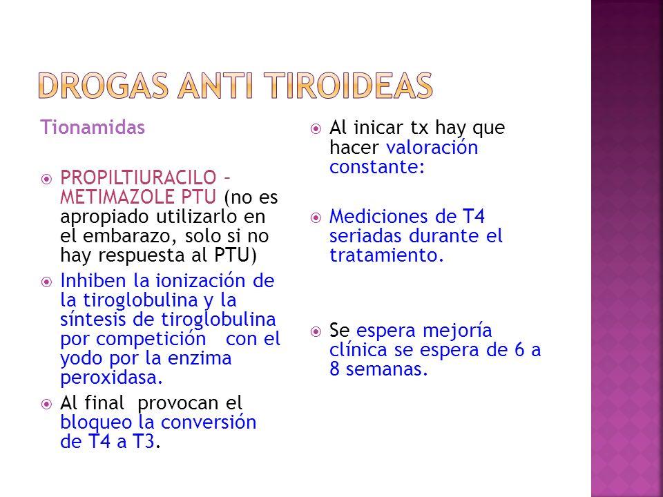 Tionamidas PROPILTIURACILO – METIMAZOLE PTU (no es apropiado utilizarlo en el embarazo, solo si no hay respuesta al PTU) Inhiben la ionización de la t