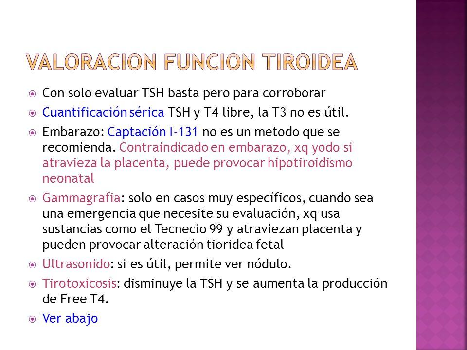 Con solo evaluar TSH basta pero para corroborar Cuantificación sérica TSH y T4 libre, la T3 no es útil. Embarazo: Captación I-131 no es un metodo que
