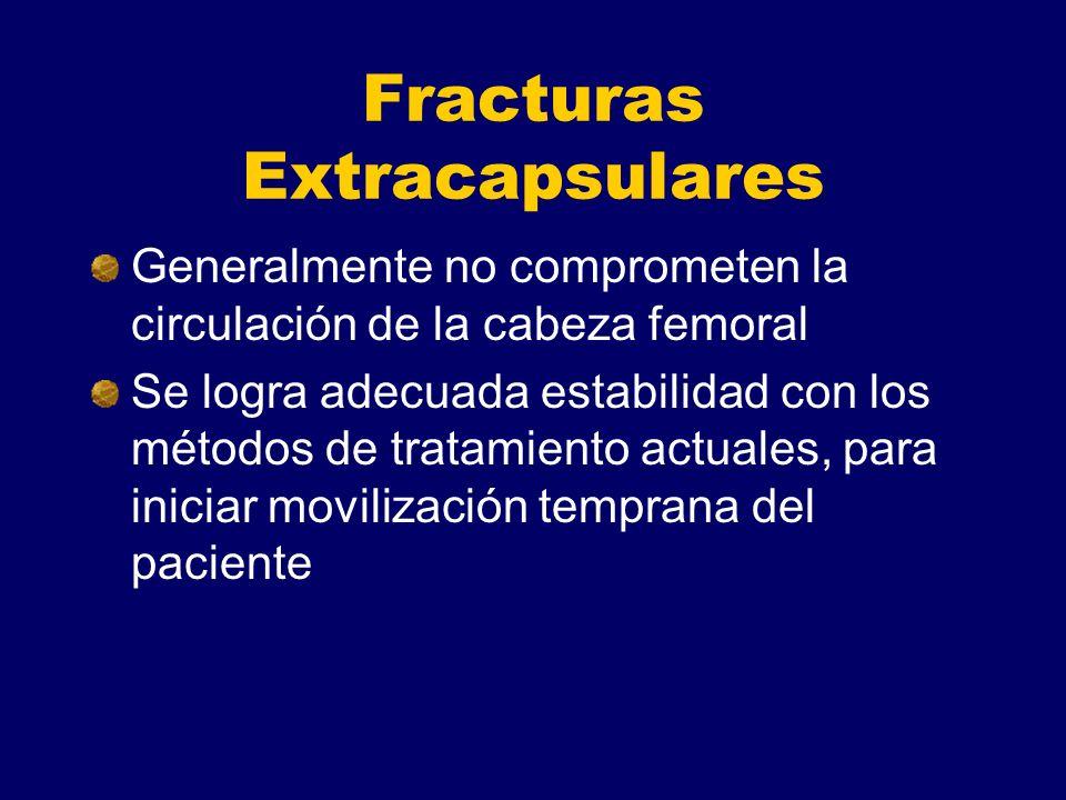 Fracturas Extracapsulares Generalmente no comprometen la circulación de la cabeza femoral Se logra adecuada estabilidad con los métodos de tratamiento actuales, para iniciar movilización temprana del paciente