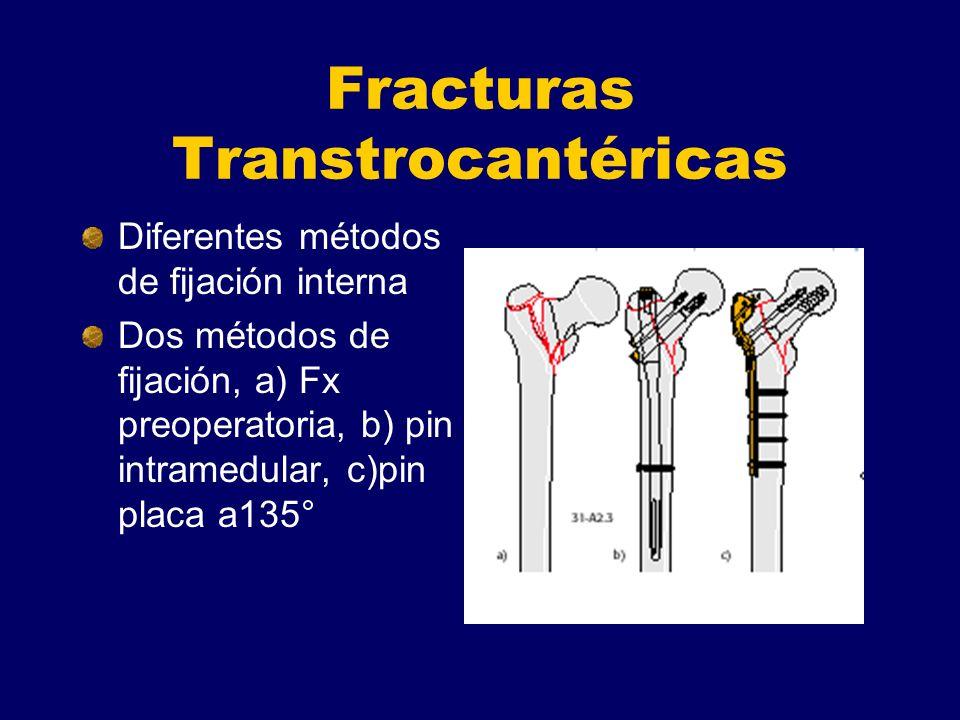 Fracturas Transtrocantéricas Diferentes métodos de fijación interna Dos métodos de fijación, a) Fx preoperatoria, b) pin intramedular, c)pin placa a13