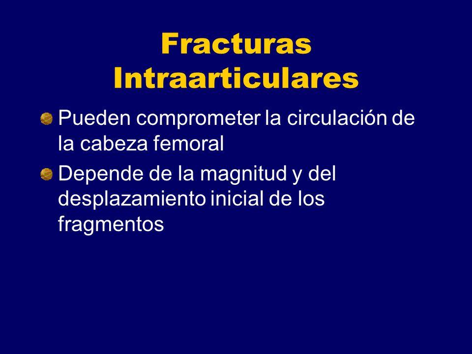 Fracturas Intraarticulares Pueden comprometer la circulación de la cabeza femoral Depende de la magnitud y del desplazamiento inicial de los fragmentos