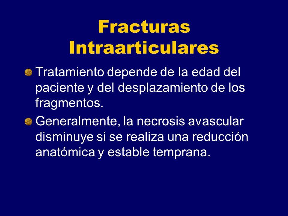 Fracturas Intraarticulares Tratamiento depende de la edad del paciente y del desplazamiento de los fragmentos. Generalmente, la necrosis avascular dis