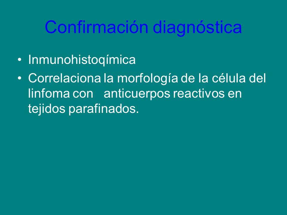Confirmación diagnóstica Inmunohistoqímica Correlaciona la morfología de la célula del linfoma con anticuerpos reactivos en tejidos parafinados.