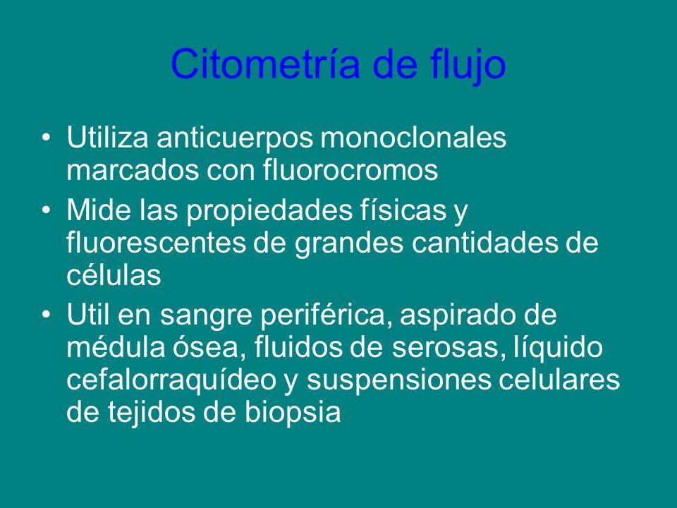 Citometría de flujo Utiliza anticuerpos monoclonales marcados con fluorocromos Mide las propiedades físicas y fluorescentes de grandes cantidades de c