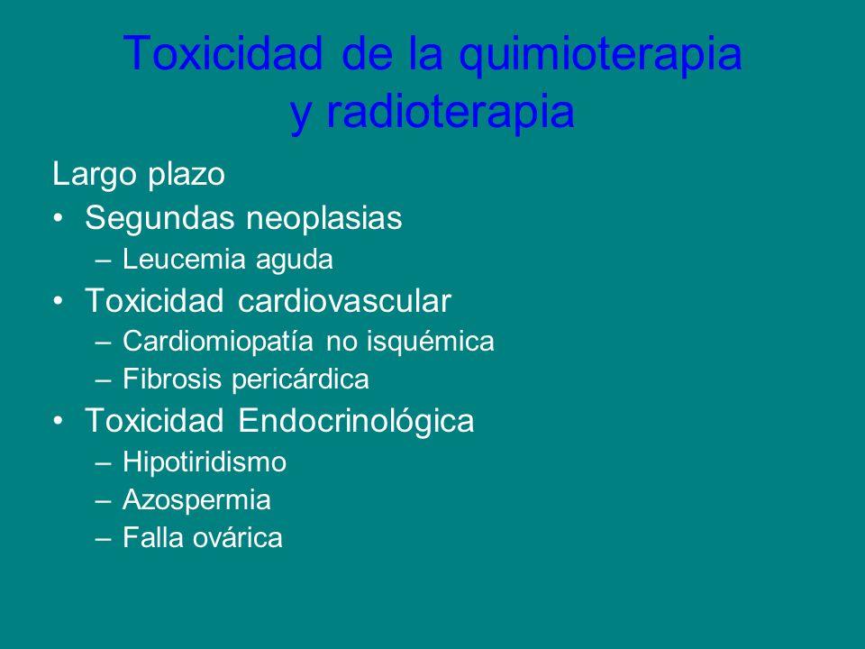 Toxicidad de la quimioterapia y radioterapia Largo plazo Segundas neoplasias –Leucemia aguda Toxicidad cardiovascular –Cardiomiopatía no isquémica –Fi