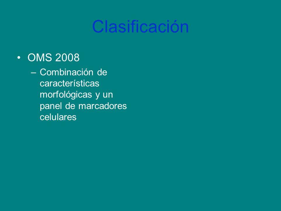 Clasificación OMS 2008 –Combinación de características morfológicas y un panel de marcadores celulares