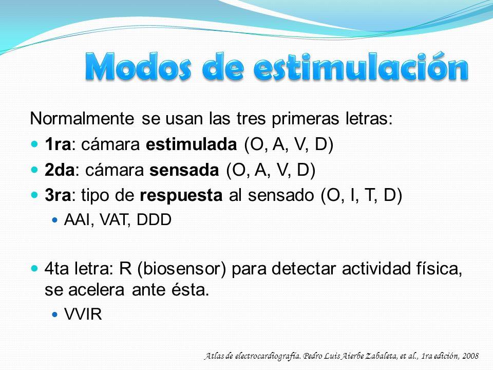 Normalmente se usan las tres primeras letras: 1ra: cámara estimulada (O, A, V, D) 2da: cámara sensada (O, A, V, D) 3ra: tipo de respuesta al sensado (