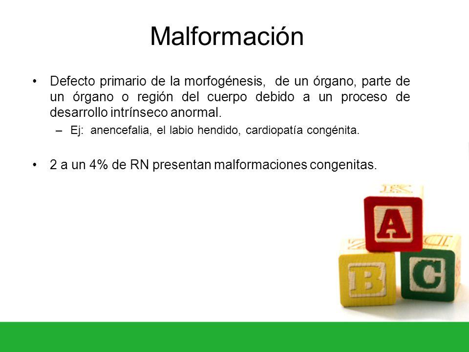 Malformación Defecto primario de la morfogénesis, de un órgano, parte de un órgano o región del cuerpo debido a un proceso de desarrollo intrínseco an