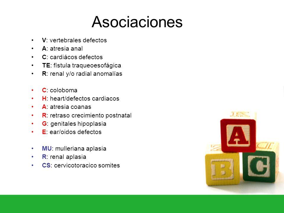 Asociaciones V: vertebrales defectos A: atresia anal C: cardiácos defectos TE: fístula traqueoesofágica R: renal y/o radial anomalías C: coloboma H: h