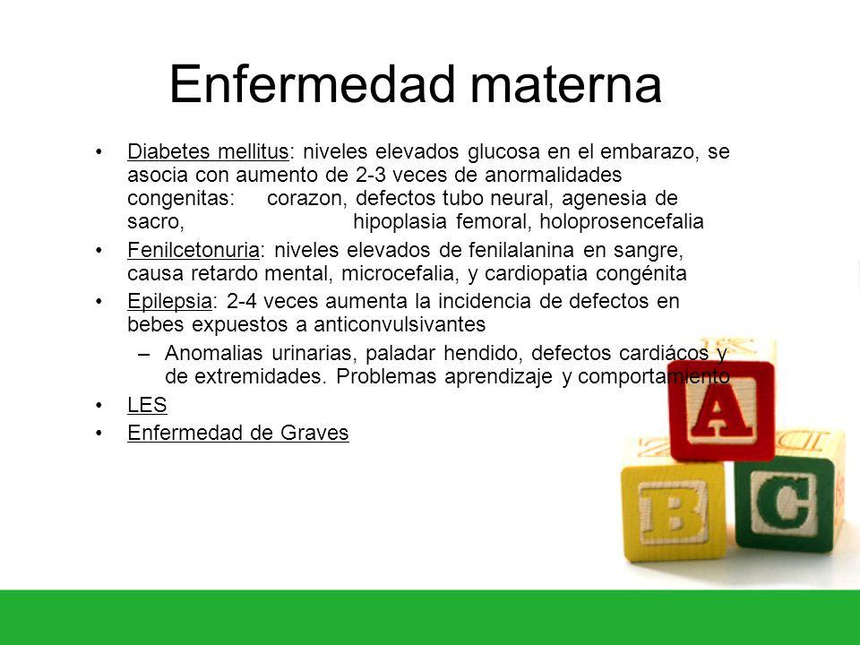 Enfermedad materna Diabetes mellitus: niveles elevados glucosa en el embarazo, se asocia con aumento de 2-3 veces de anormalidades congenitas: corazon