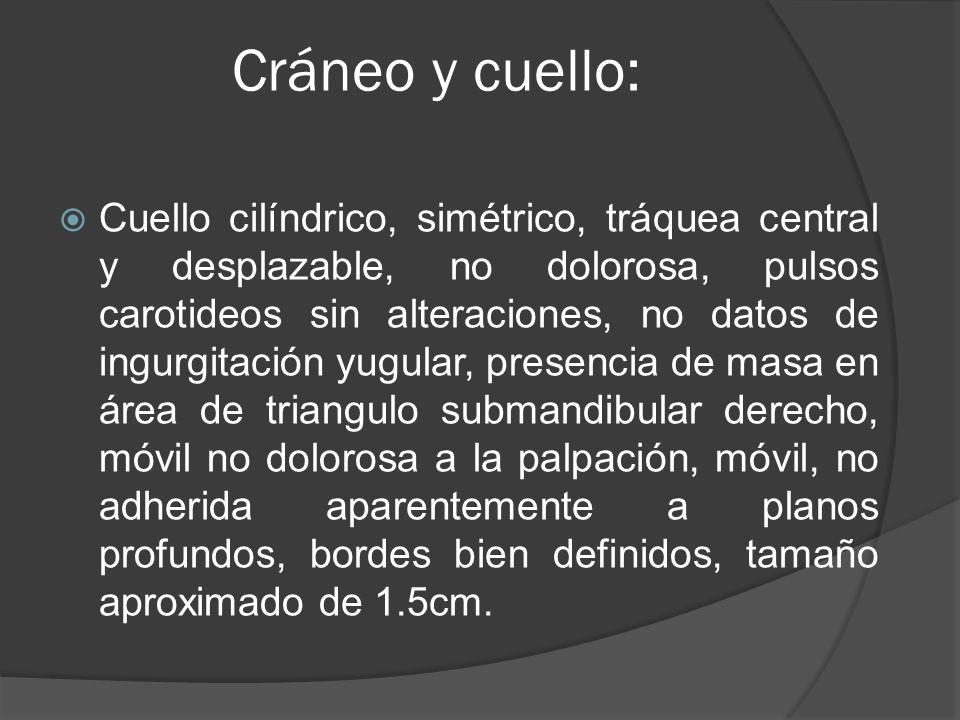 Cráneo y cuello: Cuello cilíndrico, simétrico, tráquea central y desplazable, no dolorosa, pulsos carotideos sin alteraciones, no datos de ingurgitaci