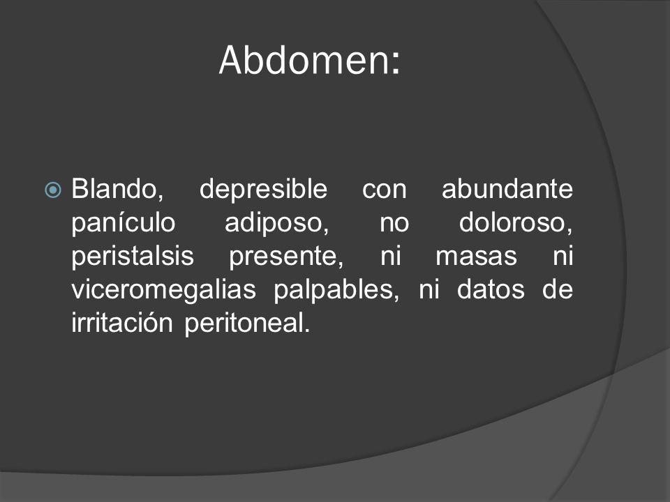 Abdomen: Blando, depresible con abundante panículo adiposo, no doloroso, peristalsis presente, ni masas ni viceromegalias palpables, ni datos de irrit