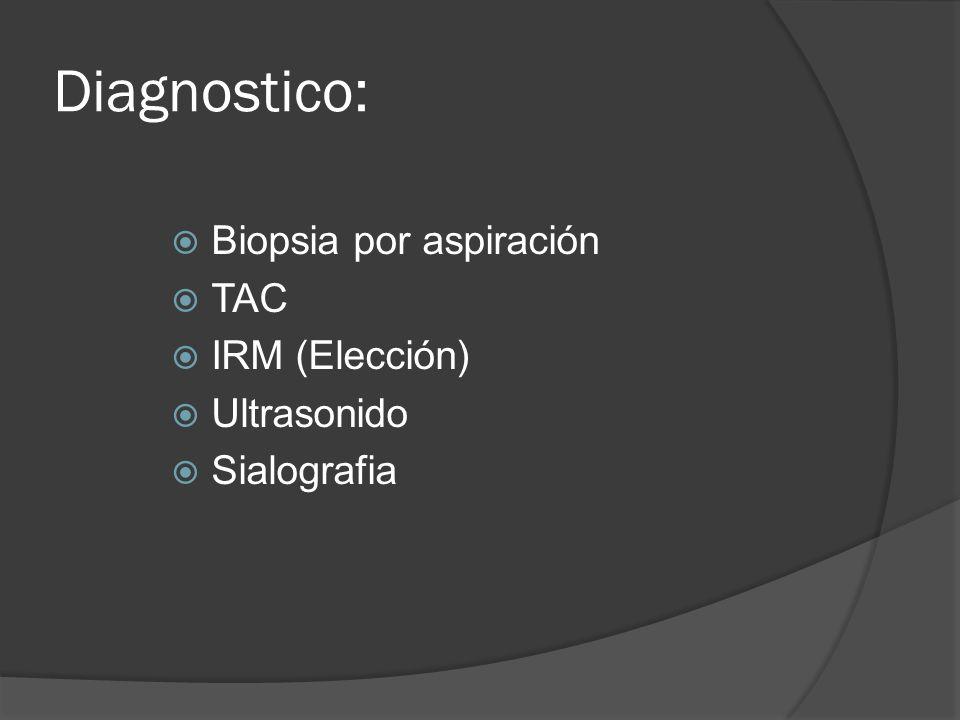 Diagnostico: Biopsia por aspiración TAC IRM (Elección) Ultrasonido Sialografia