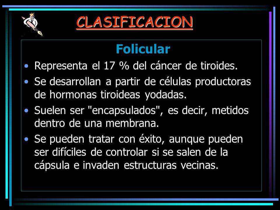 CLASIFICACION Folicular Representa el 17 % del cáncer de tiroides. Se desarrollan a partir de células productoras de hormonas tiroideas yodadas. Suele