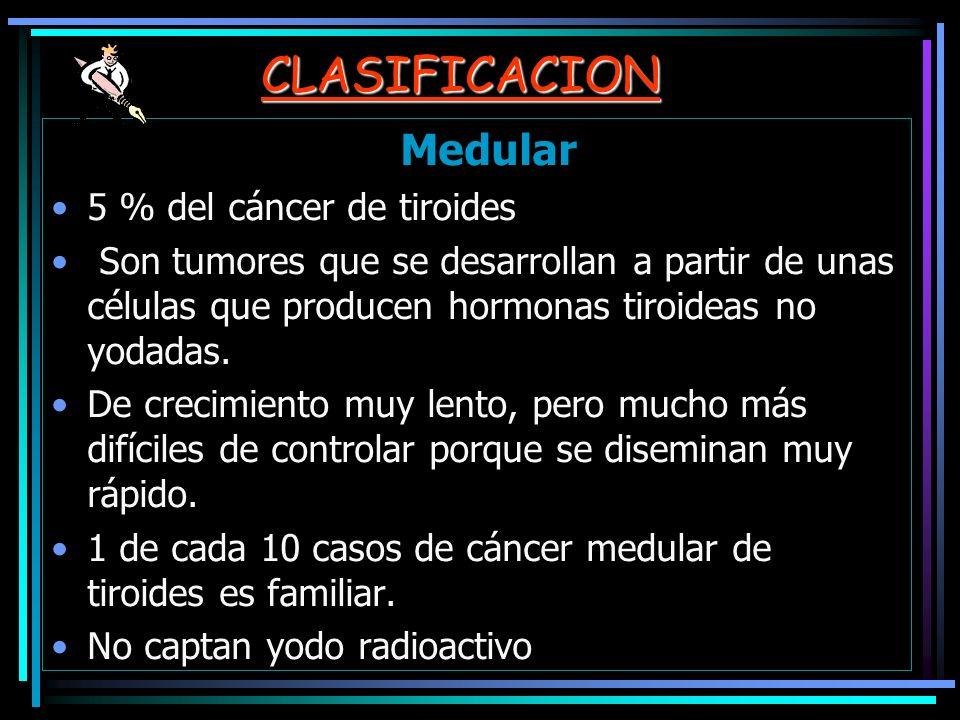 CLASIFICACION Medular 5 % del cáncer de tiroides Son tumores que se desarrollan a partir de unas células que producen hormonas tiroideas no yodadas. D