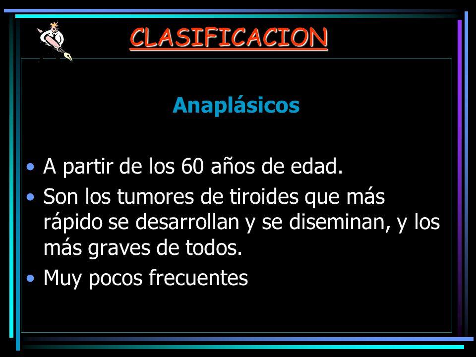 CLASIFICACION Anaplásicos A partir de los 60 años de edad. Son los tumores de tiroides que más rápido se desarrollan y se diseminan, y los más graves