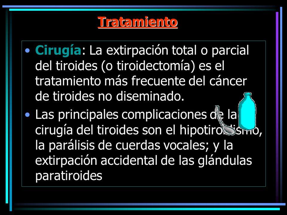 Tratamiento Cirugía: La extirpación total o parcial del tiroides (o tiroidectomía) es el tratamiento más frecuente del cáncer de tiroides no diseminad