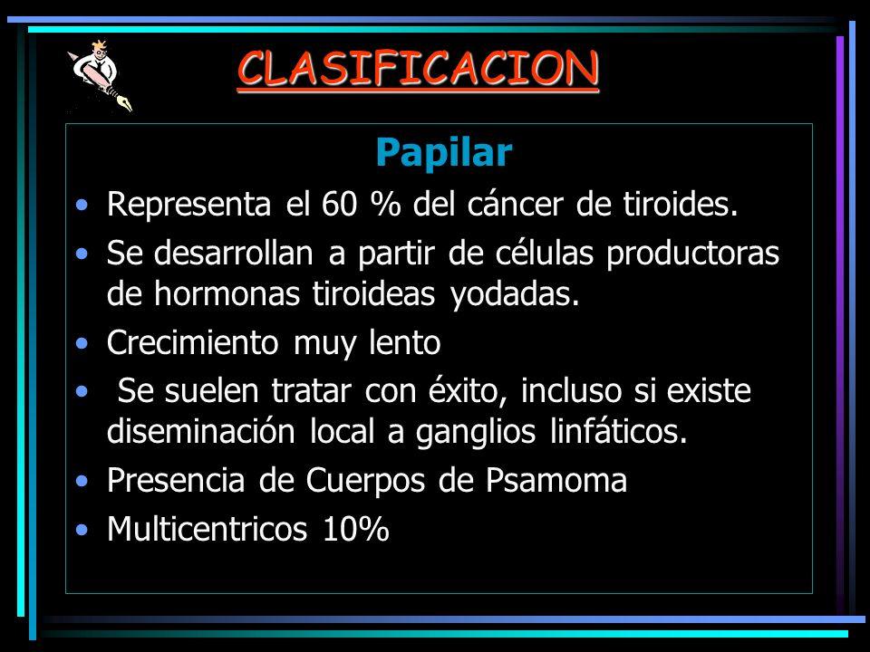 CLASIFICACION Papilar Representa el 60 % del cáncer de tiroides. Se desarrollan a partir de células productoras de hormonas tiroideas yodadas. Crecimi