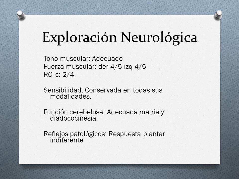 Exploración Neurológica Tono muscular: Adecuado Fuerza muscular: der 4/5 izq 4/5 ROTs: 2/4 Sensibilidad: Conservada en todas sus modalidades. Función