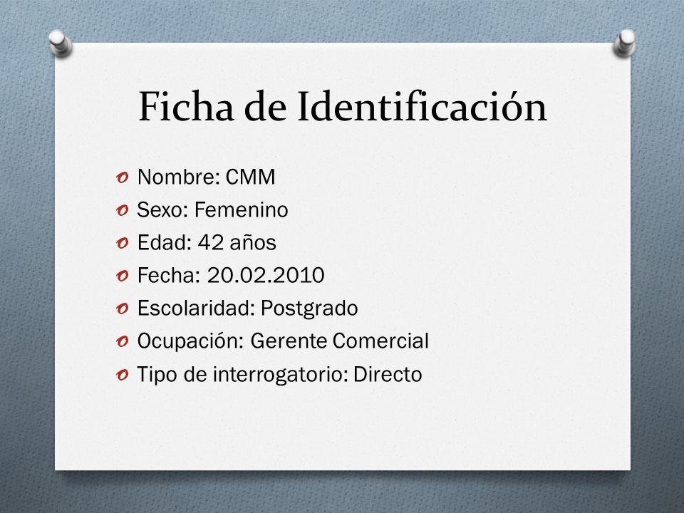 Ficha de Identificación o Nombre: CMM o Sexo: Femenino o Edad: 42 años o Fecha: 20.02.2010 o Escolaridad: Postgrado o Ocupación: Gerente Comercial o T