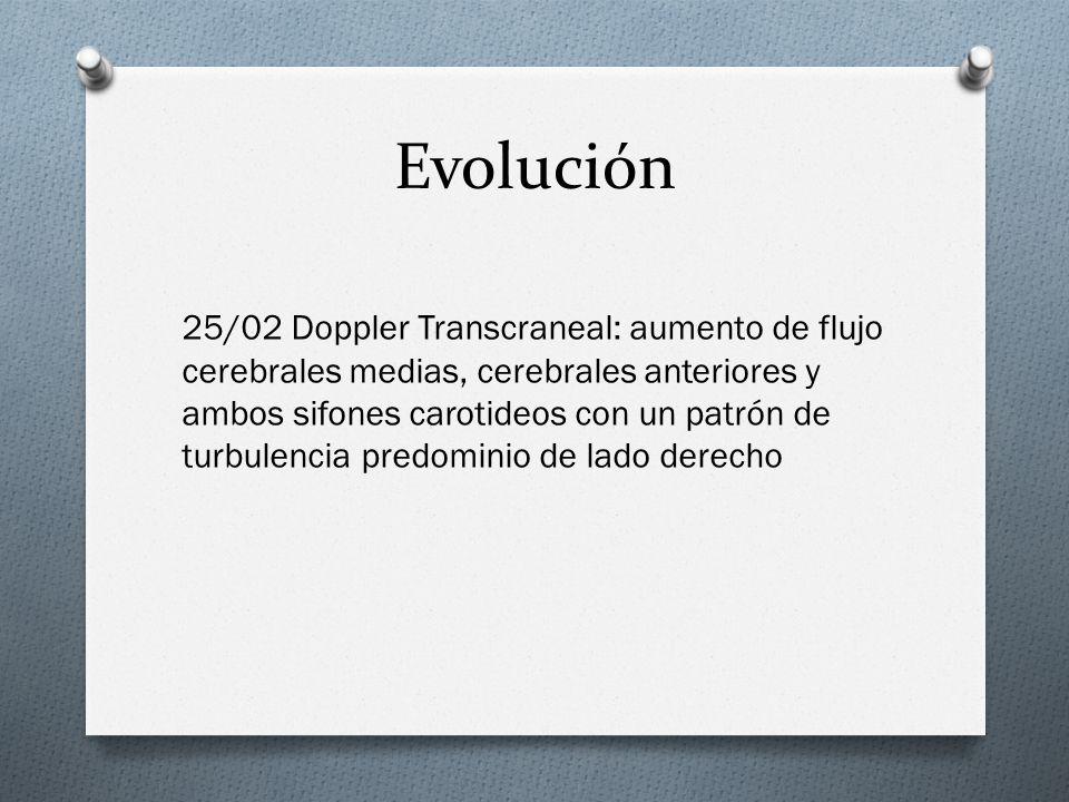 Evolución 25/02 Doppler Transcraneal: aumento de flujo cerebrales medias, cerebrales anteriores y ambos sifones carotideos con un patrón de turbulenci