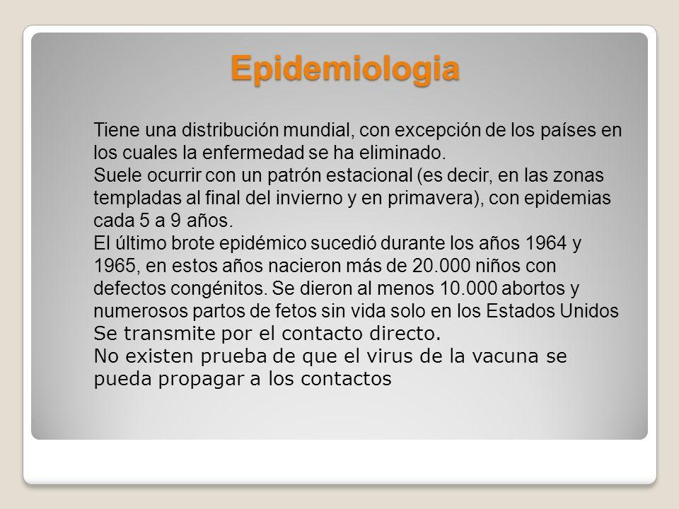 Epidemiologia Tiene una distribución mundial, con excepción de los países en los cuales la enfermedad se ha eliminado. Suele ocurrir con un patrón est
