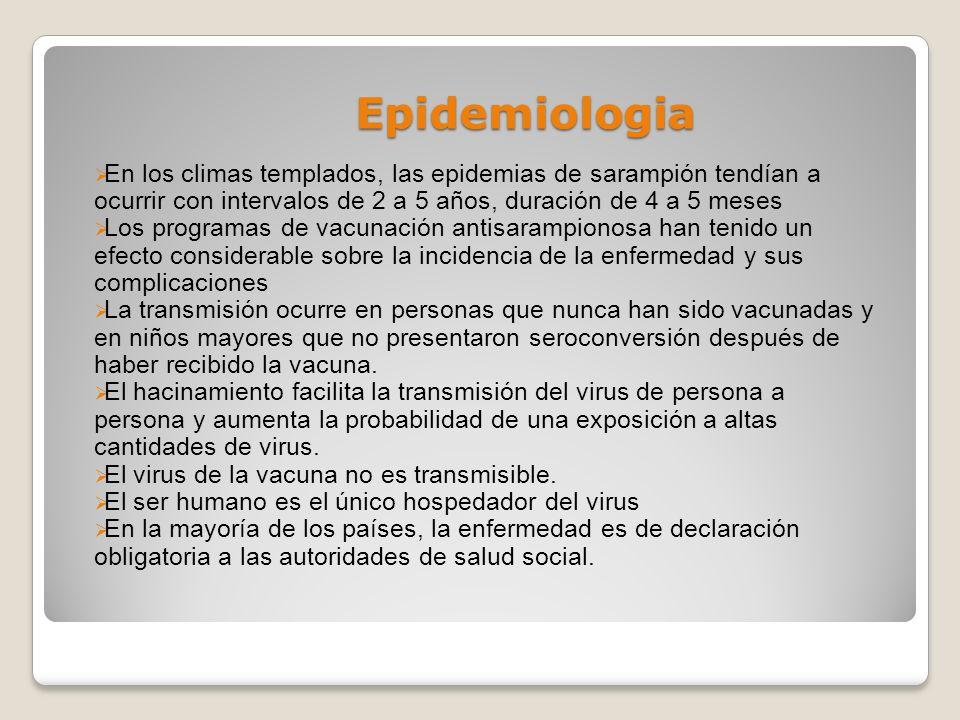 Epidemiologia En los climas templados, las epidemias de sarampión tendían a ocurrir con intervalos de 2 a 5 años, duración de 4 a 5 meses Los programa