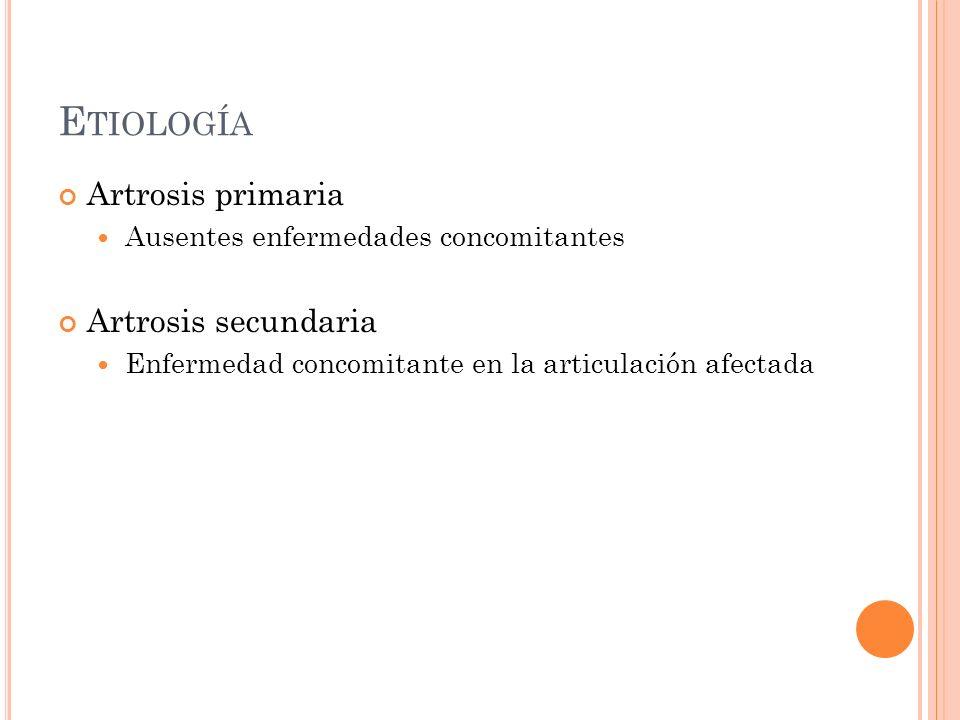 Artrosis primaria Ausentes enfermedades concomitantes Artrosis secundaria Enfermedad concomitante en la articulación afectada