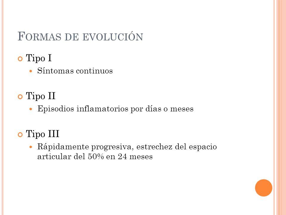 F ORMAS DE EVOLUCIÓN Tipo I Síntomas continuos Tipo II Episodios inflamatorios por días o meses Tipo III Rápidamente progresiva, estrechez del espacio