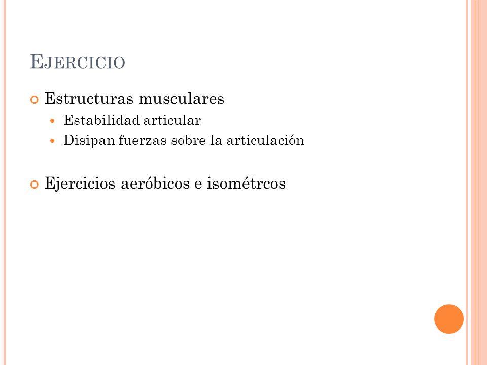 E JERCICIO Estructuras musculares Estabilidad articular Disipan fuerzas sobre la articulación Ejercicios aeróbicos e isométrcos