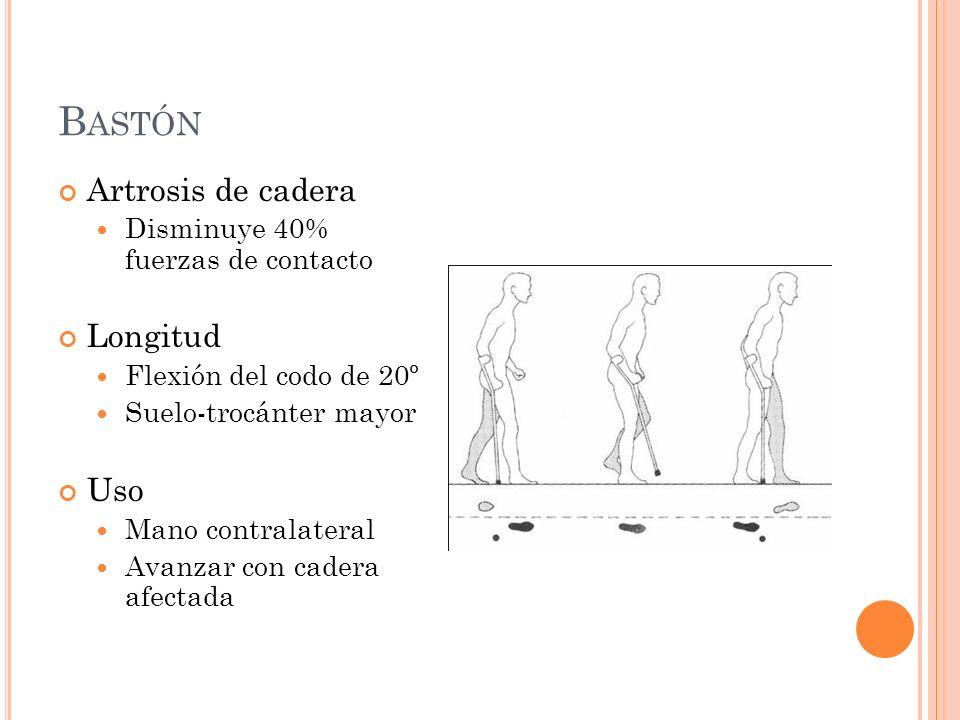 B ASTÓN Artrosis de cadera Disminuye 40% fuerzas de contacto Longitud Flexión del codo de 20º Suelo-trocánter mayor Uso Mano contralateral Avanzar con