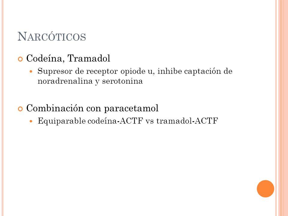 N ARCÓTICOS Codeína, Tramadol Supresor de receptor opiode u, inhibe captación de noradrenalina y serotonina Combinación con paracetamol Equiparable co