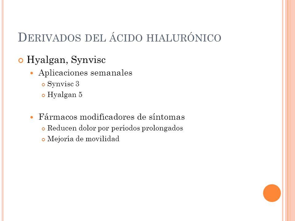 D ERIVADOS DEL ÁCIDO HIALURÓNICO Hyalgan, Synvisc Aplicaciones semanales Synvisc 3 Hyalgan 5 Fármacos modificadores de síntomas Reducen dolor por perí