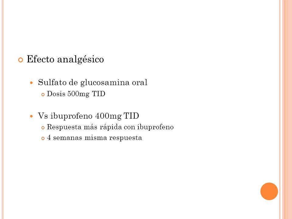 Efecto analgésico Sulfato de glucosamina oral Dosis 500mg TID Vs ibuprofeno 400mg TID Respuesta más rápida con ibuprofeno 4 semanas misma respuesta