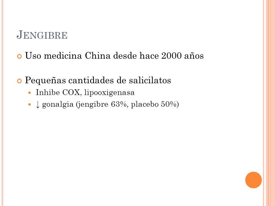 J ENGIBRE Uso medicina China desde hace 2000 años Pequeñas cantidades de salicilatos Inhibe COX, lipooxigenasa gonalgia (jengibre 63%, placebo 50%)