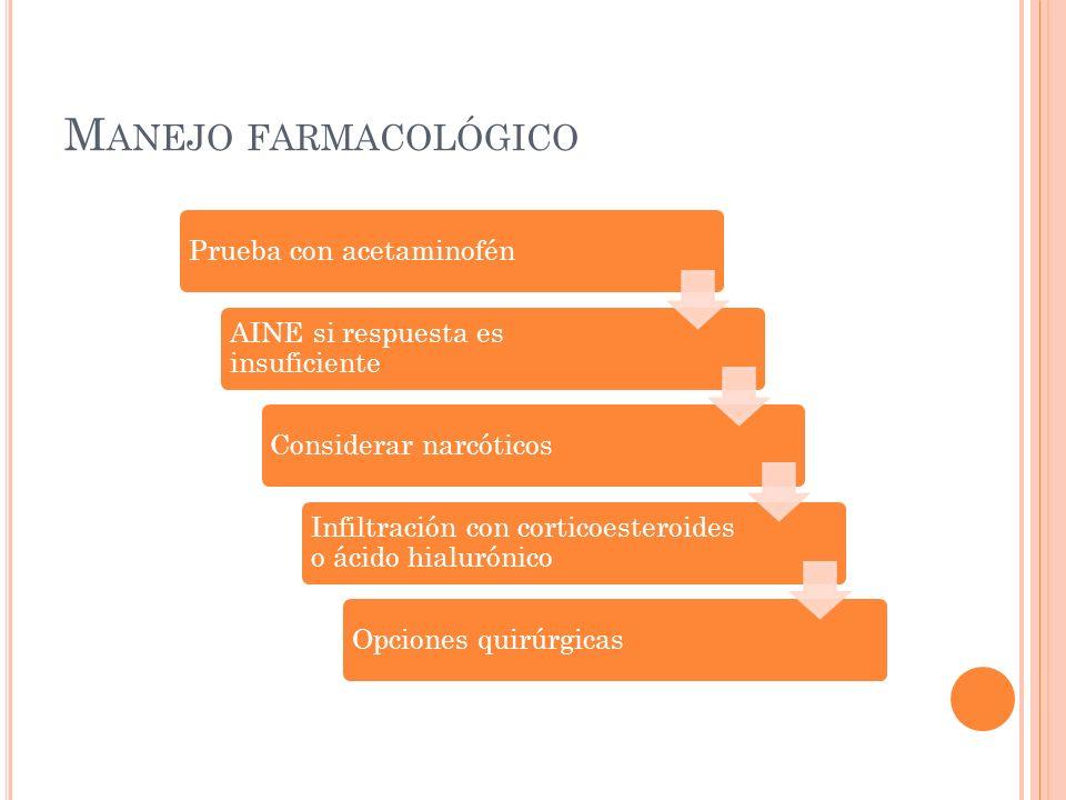 M ANEJO FARMACOLÓGICO Prueba con acetaminofén AINE si respuesta es insuficiente Considerar narcóticos Infiltración con corticoesteroides o ácido hialu