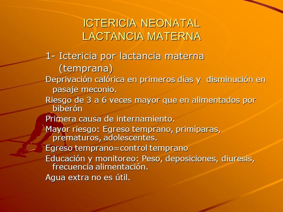 ICTERICIA NEONATAL LACTANCIA MATERNA 1- Ictericia por lactancia materna (temprana) (temprana) Deprivación calórica en primeros días y disminución en p