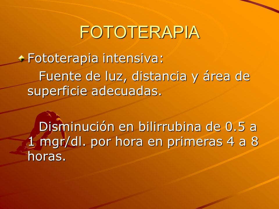 FOTOTERAPIA Fototerapia intensiva: Fuente de luz, distancia y área de superficie adecuadas. Fuente de luz, distancia y área de superficie adecuadas. D